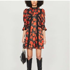 The Kooples dress abstract roses on jacquar